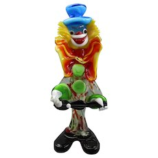 Larger Murano Art Glass Clown with Guitar Vintage