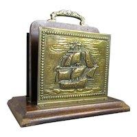 Brass & Oak Ship Letter Stand Antique C1900