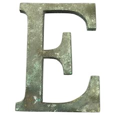 Bronze Display Initial Letter E Vintage c1980