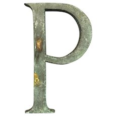 Bronze Display Initial Letter P Vintage c1980