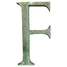 Bronze Display Initial Letter F Vintage c1980