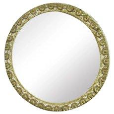 Framed Round Convex Mirror Vintage c1920