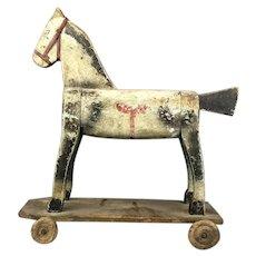 Child's Wooden Horse On Wheels Antique Victorian c1880