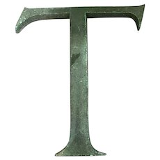Bronze Display Initial Letter T Vintage c1980