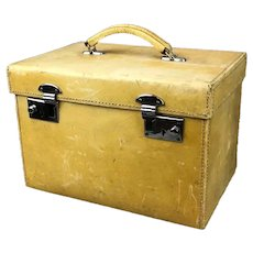 Vellum Leather Vanity Travel Case Vintage c1930