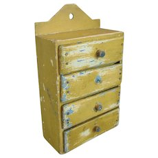 Miniature Weathered Bank of Wall Drawers Vintage c1920