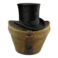 Top Hat in Leather Case Antique Edwardian c1910.