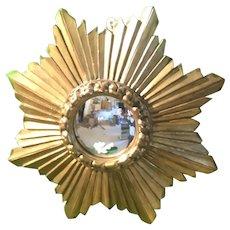 Gilded Sunburst Convex Mirror Antique c1900