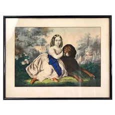 Victorian Framed Print Girl and Dog Antique c1900