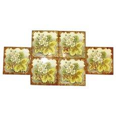 6 x  Aesthetic Period Glazed Floral Tiles Antique c1870