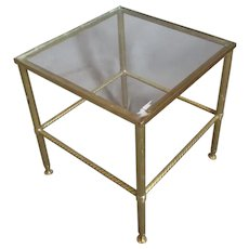 Brass & Glass Hollywood Regency Coffee Side Table Vintage c1970