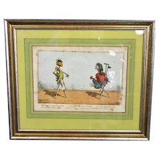 Framed Aquatint Print Humorous ' Implements Animated' Gardening Cartoon Charles Williams Antique c1811