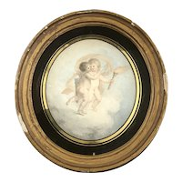 Printed Cherub Picture In Oval Black Gilt Frame Antique Victorian c1880