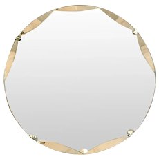 Art Deco Round Circular Undulated Edged Bevelled Mirror Vintage c1930