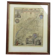 Map Of Gloucestershire Antique Edwardian c1910