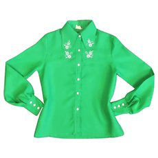 Classic Ladies Polyester Western Shirt Vintage c1970