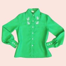 Classic Ladies Polyester Western Shirt Vintage c1970