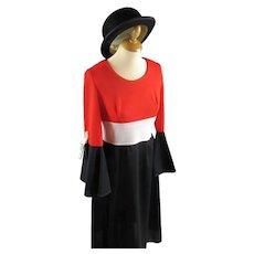 Block Colour Maxi Dress Vintage c1965