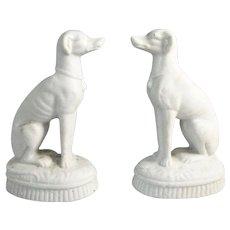 Ceramic Pair of Parian Ware Greyhounds Antique Victorian c.1870.
