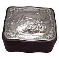 Silver Topped Leather Box Vintage Birmingham 1993