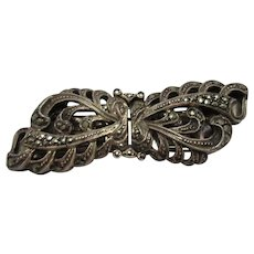 Silver & Marcasite Brooch/Scarf Clasps Art Deco c1920's