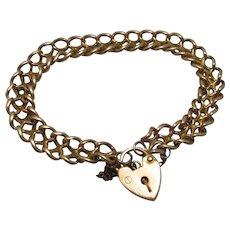 9ct 375 Rose Gold Hallmarked Curb Chain Bracelet With Heart Locket Vintage