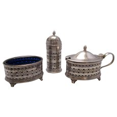 English Sterling Silver Cruet Set Antique Birmingham 1917