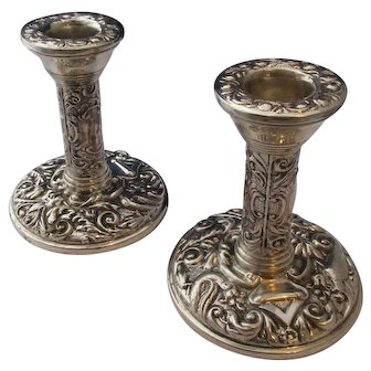 Pair Of Ornate Sterling Silver Candlesticks Vintage Birmingham 1977.