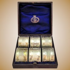 Boxed Set of 6 Silver Plated Napkin Rings Antique c 1890.