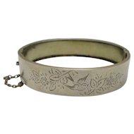 Silver 800 Grade Aesthetic Movement Bangle Antique Victorian c1900.