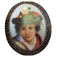 Hand Painted Porcelain Brooch Pin Antique Victorian c1870.