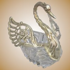 Articulated Vintage Continental 925 Silver & Cut Crystal Swan Pin Dish.