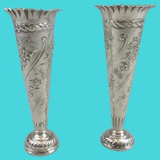 Pair Of Sterling Silver Posy Vases Antique Victorian London 1898.