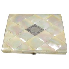 Mother of Pearl Card Case Antique Victorian 1885.