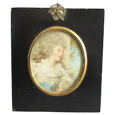 Miniature Watercolour Painting Of A Woman Antique Georgian C1820
