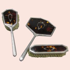 Ladies Dressing Table Set Faux Tortoiseshell Vintage Art Deco c1930