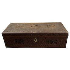 Carved Mahogany Chinese Box Antique Victorian c1880