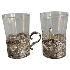 Sterling Silver Pair Of Liqueur Glasses Antique Art Nouveau Sheffield 1902 By Henry Atkin