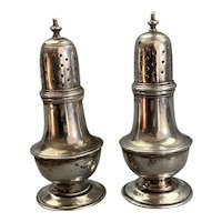 Sterling Silver Pair Of Pepper Pots By Britton and Son Antique Edwardian Chester 1912