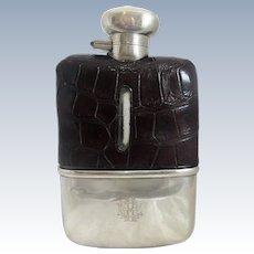 English Sterling Silver And Crocodile Skin Hip Flask Birmingham 1932