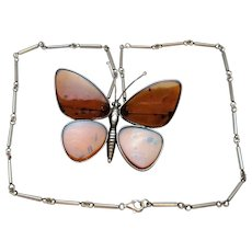 Sterling Silver & Amber Butterfly Necklace or Brooch