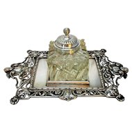 Antique Edwardian Silver Plated & Glass Desk Ink Well