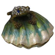 Enamel Frog On Shell Dish Vintage C1980's.
