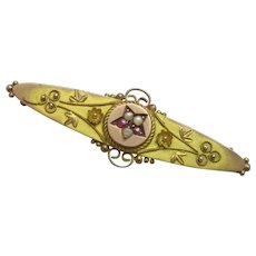 9ct Gold Seed Pearl & Ruby Brooch Hallmarked Chester Antique 1902 English.