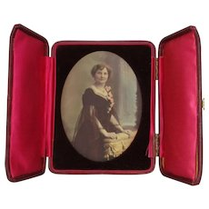 Antique Edwardian Colour Tinted Framed Portrait Photograph c1905.