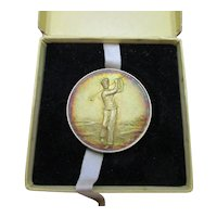 Vintage Boxed Silver Golf Medallion by News of the World c1956.