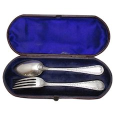 Boxed Sterling Silver Fork & Spoon Set Antique Victorian Exeter English 1867.