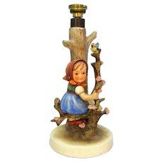 Vintage W German Goebel Hummel Girl in Tree Lamp Base c1960s.