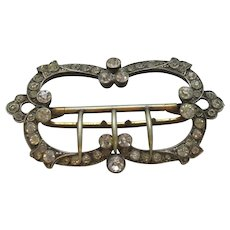 White Metal & Diamond Paste Belt Buckle Antique Edwardian c1900.
