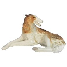 Russian Porcelain Dog Figurine Vintage 20th Century.